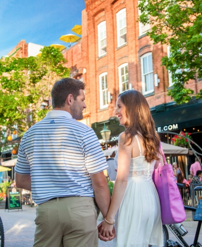 Charlottetown, Prince Edward Island, PEI, Downtown, Richmond Street, Victoria Row, The Row, Couple, Visitor, Walking, Streetscape, Shopping, Shops, Restaurants, Coffee Shops, Biking, Walking, Stroll, Experience, Explore, Discover Charlottetown, Tours, Top Reasons to Take a Stroll in Charlottetown