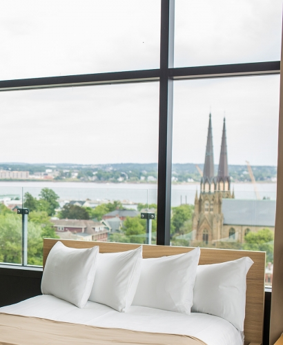 downtown charlottetown, basilica, church, views, discover charlottetown, holman grand hotel, hotel room, bed, accommodation, sleep, classy, high end, suite, city